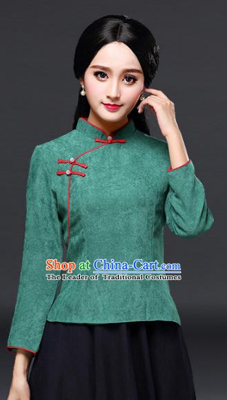 Traditional Chinese National Costume Slant Opening Hanfu Green Blouse, China Tang Suit Cheongsam Upper Outer Garment Shirt for Women