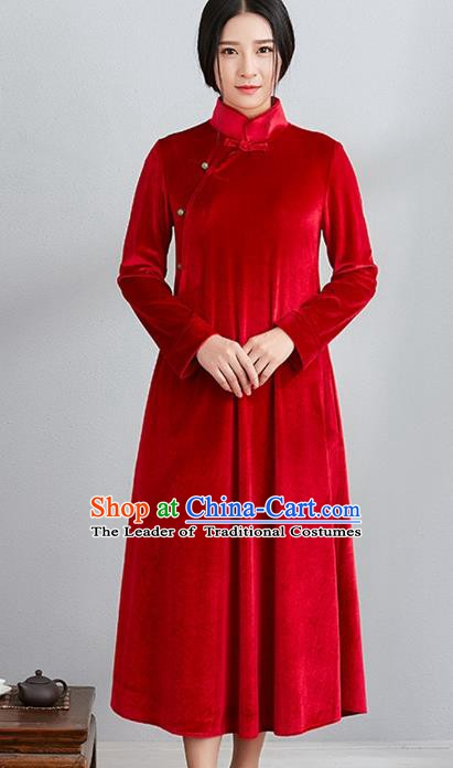 Traditional Chinese National Costume Hanfu Red Velvet Qipao, China Tang Suit Cheongsam Dress for Women