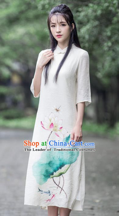 Traditional Chinese National Costume Hanfu White Linen Painting Lotus Qipao, China Tang Suit Cheongsam Dress for Women