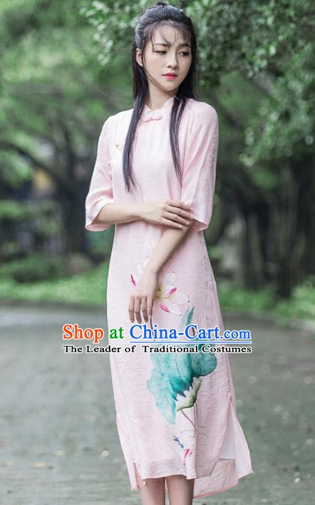 Traditional Chinese National Costume Hanfu Pink Linen Painting Lotus Qipao, China Tang Suit Cheongsam Dress for Women