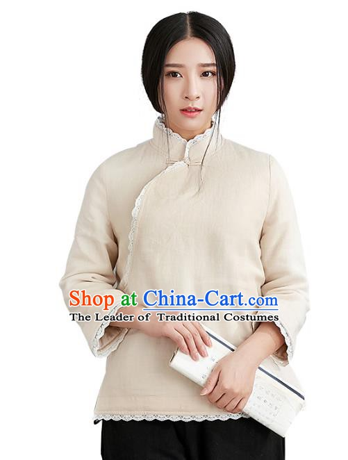 Traditional Chinese National Costume Hanfu White Blouse, China Tang Suit Cheongsam Upper Outer Garment Shirt for Women