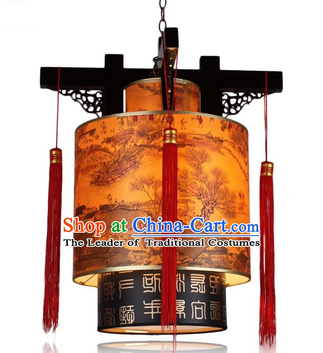 Traditional Chinese Handmade Wood Carving Lantern Classical Palace Lantern China Ceiling Palace Lamp