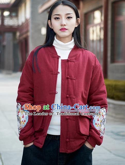 Traditional Chinese National Costume Hanfu Embroidered Red Cotton-padded Jacket, China Tang Suit Coat for Women