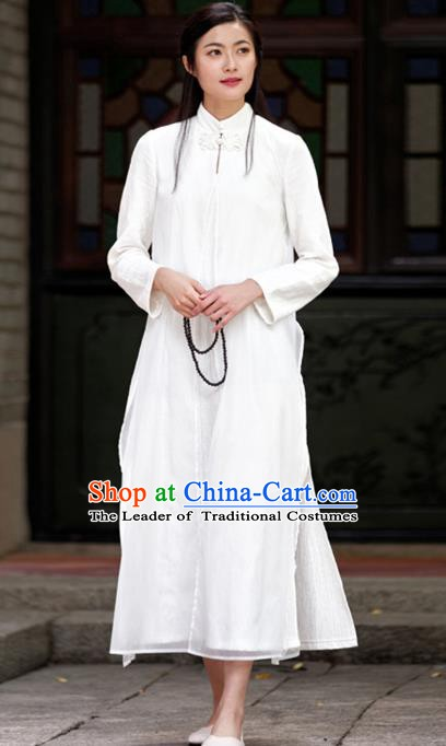 Traditional Chinese National Costume Hanfu White Linen Qipao, China Tang Suit Cheongsam Dress for Women