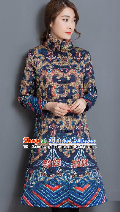 Traditional Chinese National Costume Hanfu Navy Cotton-padded Coat, China Tang Suit Dust Coat for Women