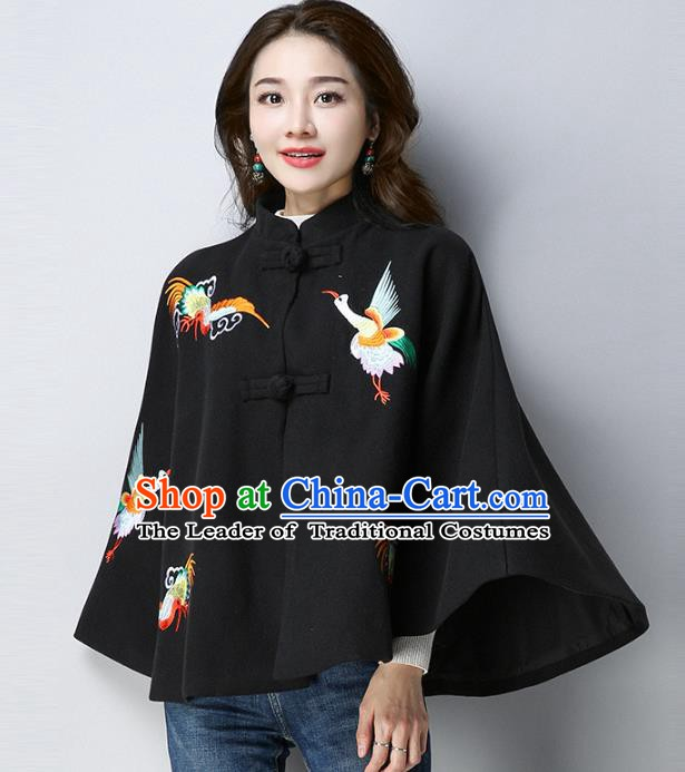 Traditional Chinese National Costume Hanfu Red Embroidered Black Cloak, China Tang Suit Cape for Women