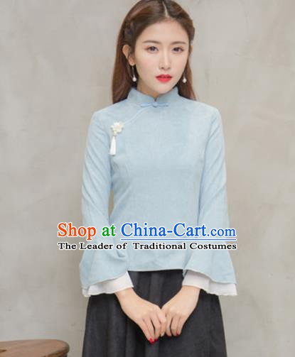 Traditional Chinese National Costume Hanfu Blue Qipao Blouse, China Tang Suit Cheongsam Shirts for Women