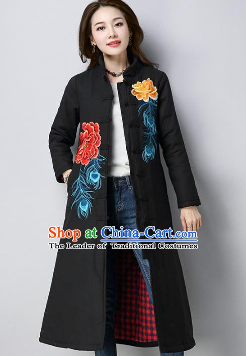 Traditional Chinese National Costume Hanfu Black Embroidered Cotton-padded Coat, China Tang Suit Dust Coat for Women