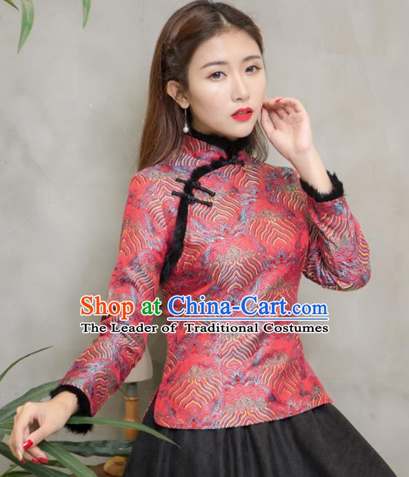 Traditional Chinese National Costume Hanfu Red Blouse, China Tang Suit Cheongsam Upper Outer Garment Shirt for Women