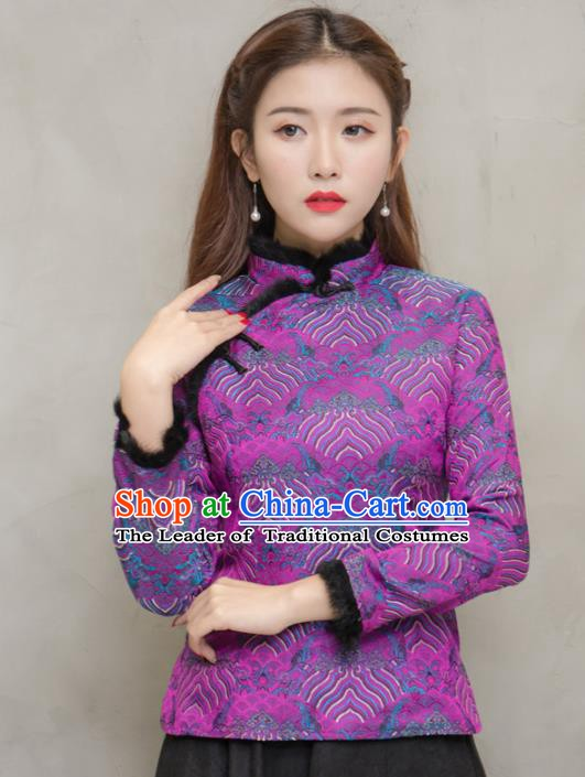 Traditional Chinese National Costume Hanfu Purple Blouse, China Tang Suit Cheongsam Upper Outer Garment Shirt for Women