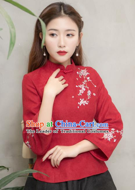 Traditional Chinese National Costume Hanfu Red Embroidered Blouse, China Tang Suit Cheongsam Upper Outer Garment Shirt for Women