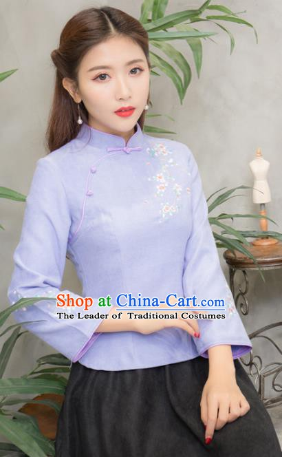Traditional Chinese National Costume Hanfu Purple Embroidered Blouse, China Tang Suit Cheongsam Upper Outer Garment Shirt for Women