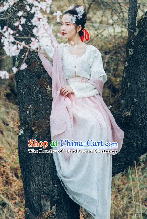 Traditional Chinese Ancient Imperial Princess Costume, China Tang Dynasty Palace Lady Embroidered Clothing for Women