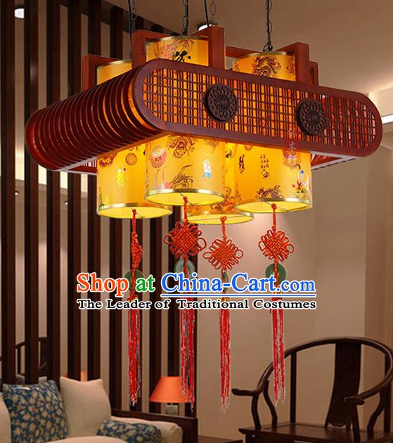 Traditional Chinese Handmade Wood Carving Sheepskin Lantern Classical Palace Lantern China Ceiling Palace Lamp