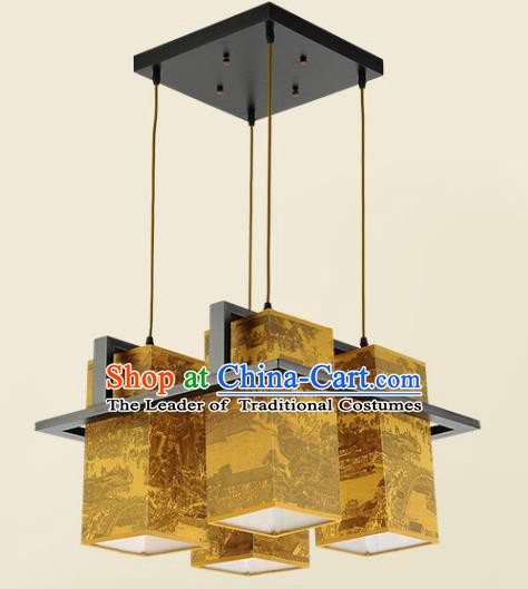 Traditional Chinese Handmade Printing Sheepskin Lantern Classical Palace Lantern China Ceiling Palace Lamp