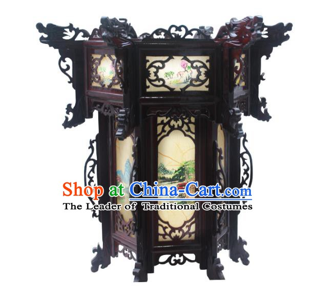 Traditional Chinese Handmade Printing Grass Hexagon Lantern Classical Palace Lantern China Wood Carving Ceiling Palace Lamp
