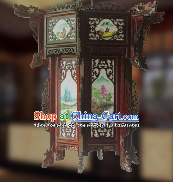 Traditional Chinese Handmade Printing Sheepskin Hexagon Lantern Classical Palace Lantern China Wood Carving Ceiling Palace Lamp