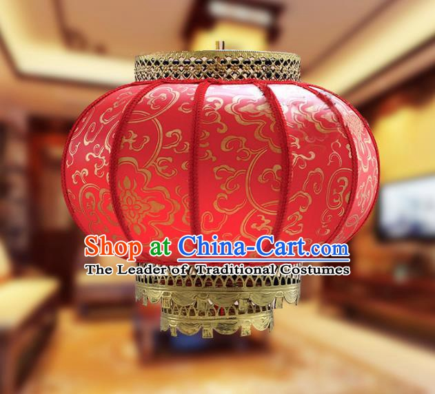 Traditional Chinese Handmade Red Sheepskin Ceiling Lantern Classical Round Palace Lantern China Palace Lamp