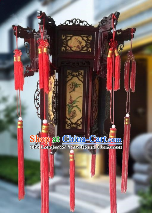 Traditional Chinese Handmade Woodcarving Printing Orchid Sheepskin Ceiling Lantern Classical Palace Lantern China Palace Lamp