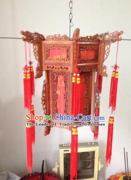 Traditional Chinese Handmade Rosewood Carving Ceiling Lantern Classical Palace Lantern China Palace Lamp