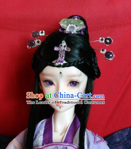Traditional Handmade Chinese Ancient Classical Hair Accessories Hairpins and Wig Complete Set for Women