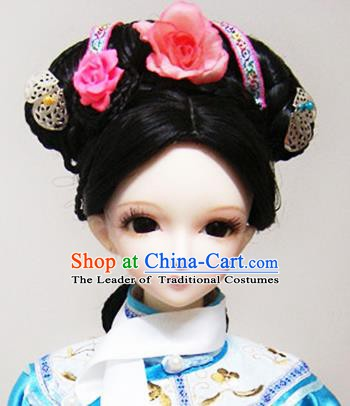 Traditional Handmade Chinese Ancient Qing Dynasty Manchu Princess Hair Accessories Hairpins and Wig Complete Set for Women