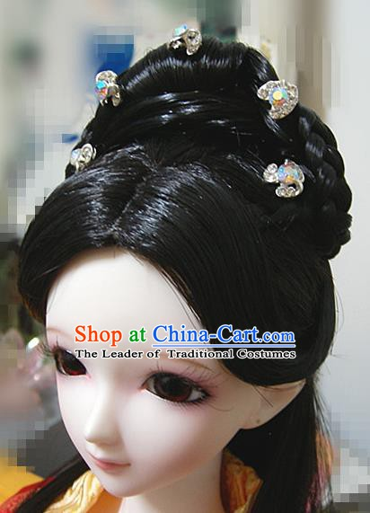 Traditional Handmade Chinese Ancient Princess Hair Accessories Wig for Women