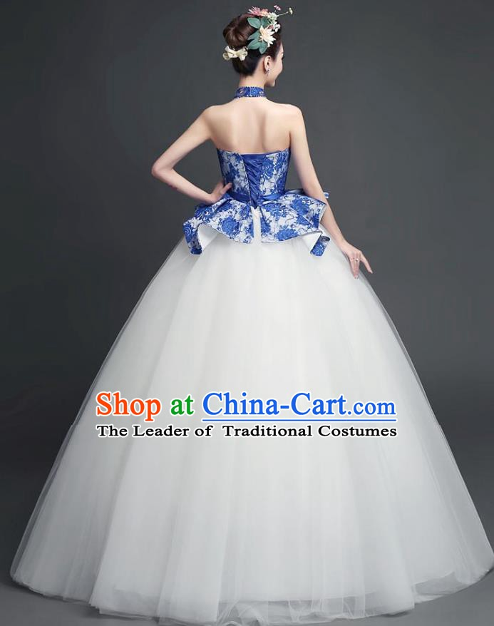 Chinese Wedding Catwalks Costume Opening Dance Bride Full Dress Cheongsam for Women