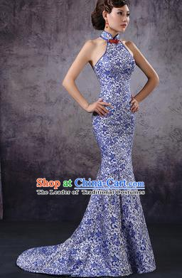 Chinese Style Wedding Catwalks Costume Wedding Bride Embroidered Trailing Full Dress Cheongsam for Women