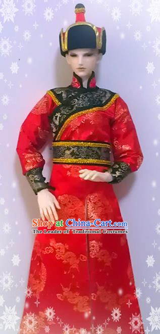 Traditional Chinese Mongol Nationality Dance Costume, Mongols Ethnic Mongolian Minority Clothing for Men