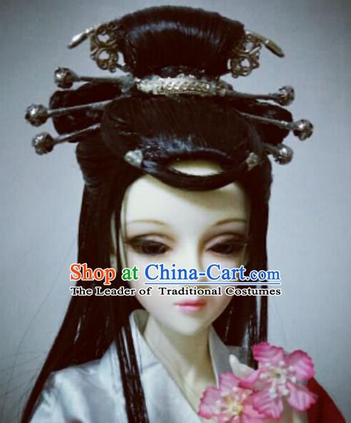 Traditional Handmade Chinese Ancient Princess Wig Sheath Fairy Wiggery for Women