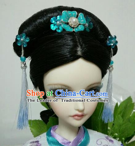 Traditional Handmade Chinese Ancient Qing Dynasty Princess Wig Sheath Wiggery for Women