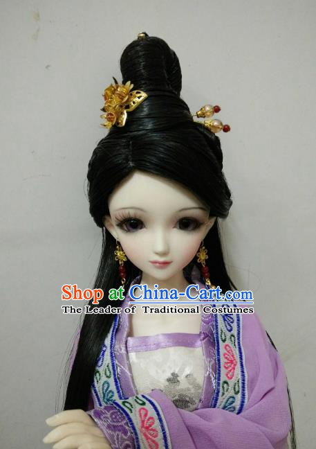 Traditional Handmade Chinese Tang Dynasty Royal Princess Wig Sheath Ancient Fairy Wiggery for Women
