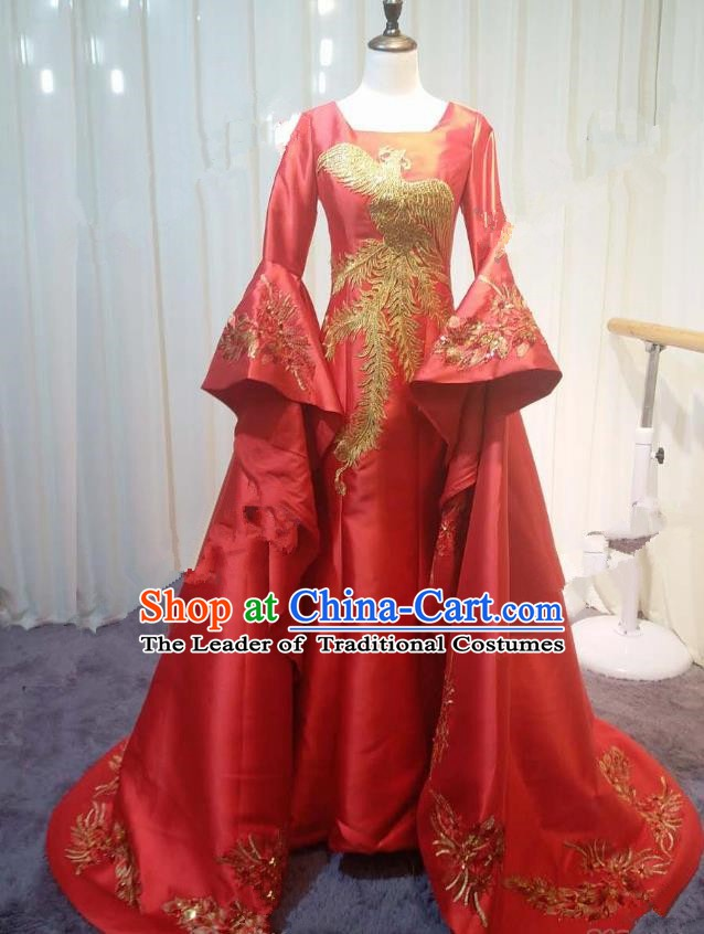 Chinese Style Wedding Catwalks Costume Wedding Red Fishtail Full Dress Compere Embroidered Phoenix Trailing Cheongsam for Women