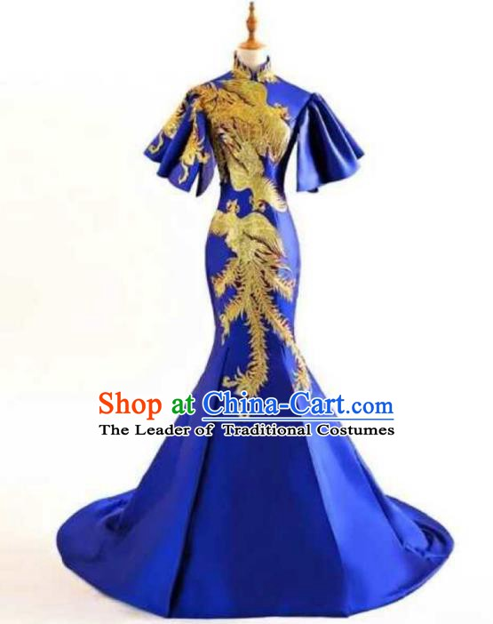Chinese Style Wedding Catwalks Costume Wedding Trailing Blue Full Dress Compere Embroidered Cheongsam for Women