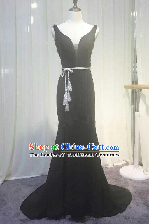 Chinese Style Wedding Catwalks Costume Wedding Black Full Dress Compere Cheongsam for Women