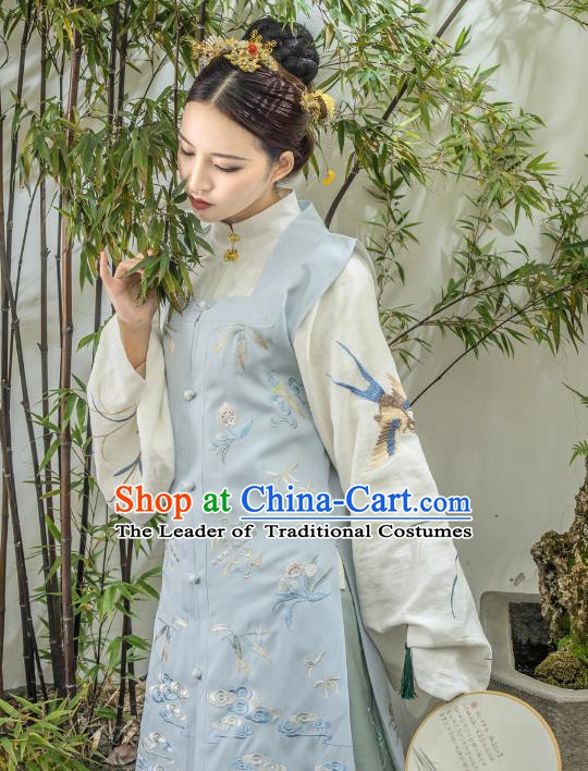 Traditional Chinese Ancient Ming Dynasty Princess Costume Embroidered Long Vest for Women