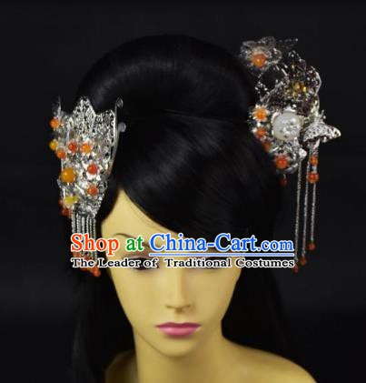 Traditional Handmade Chinese Hair Accessories Hairpins Tassel Step Shake Hair Stick Headwear for Women