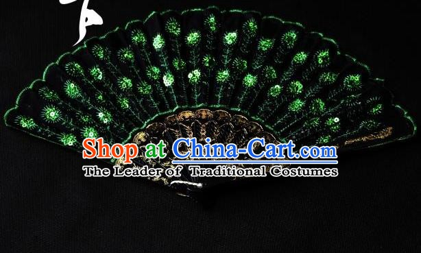 Traditional Handmade Chinese Palace Fans Embroidered Green Fans for Women