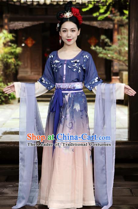 Traditional Chinese Tang Dynasty Palace Lady Dance Costume Ancient Princess Embroidered Hanfu Clothing for Women