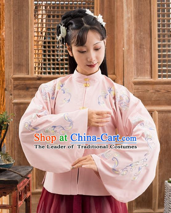 Traditional Chinese Ming Dynasty Nobility Lady Costume Ancient Princess Embroidered Pink Blouse for Women