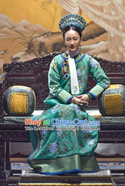 Traditional Chinese Ruyi Royal Love in the Palace Qing Dynasty Manchu Imperial Concubine Embroidered Costume for Women