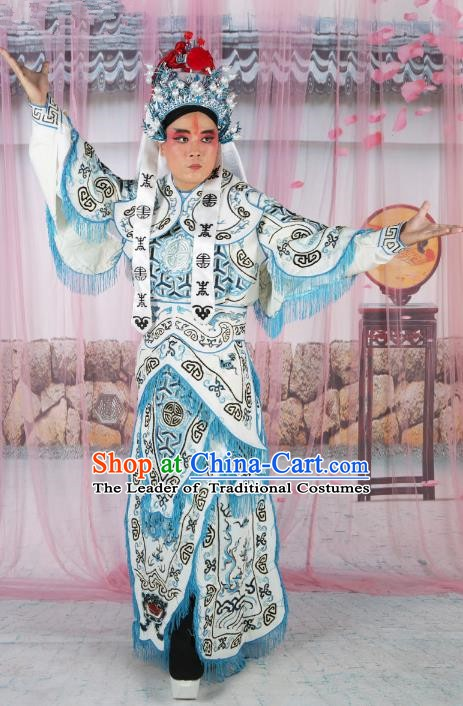 Chinese Beijing Opera Takefu Costume White Embroidered Robe, China Peking Opera Warrior Embroidery Gwanbok Clothing