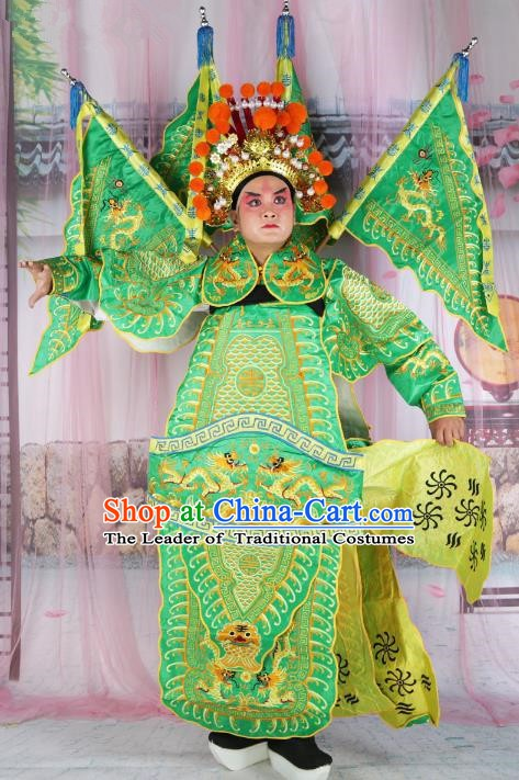 Chinese Beijing Opera Takefu Costume Green Embroidered Robe, China Peking Opera General Embroidery Gwanbok Clothing