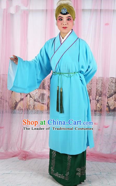 Chinese Beijing Opera Old Women Light Blue Costume, China Peking Opera Pantaloon Robe Clothing