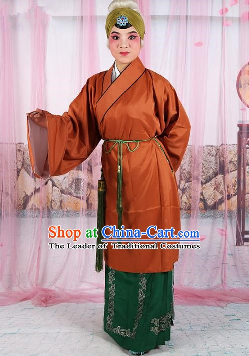 Chinese Beijing Opera Old Women Brown Costume, China Peking Opera Pantaloon Robe Clothing
