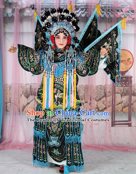 Chinese Beijing Opera Female General Costume Embroidered Black Robe, China Peking Opera Blues Embroidery Gwanbok Clothing