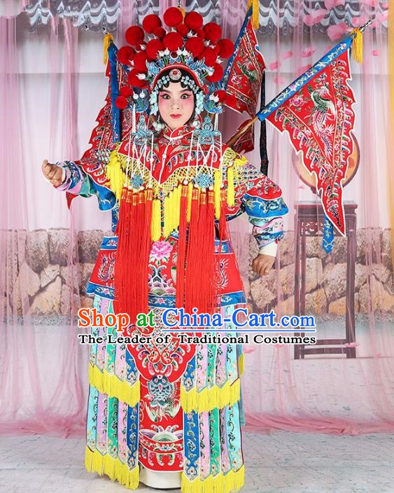 Chinese Beijing Opera Female General Costume Embroidered Robe, China Peking Opera Blues Embroidery Gwanbok Clothing
