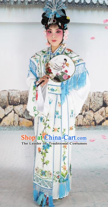 Chinese Beijing Opera Nobility Lady Princess Embroidered White Costume, China Peking Opera Actress Embroidery Clothing