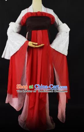 Traditional Chinese Ancient Princess Embroidered Costume Tang Dynasty Young Lady Clothing